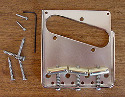 Callaham Vintage T Model Tele Bridge Assembly w/ 3 Brass Slant Compensated Saddles